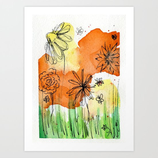 Flower Doodle 2 Art Print
