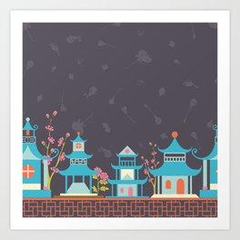 Chinoiserie border Art Print