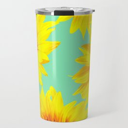 Sunflowers on a pastel green backgrond - #Society6 #buyart Travel Mug