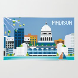 Madison, Wisconsin - Skyline Illustration by Loose Petals Rug