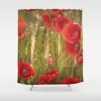 poppies Shower Curtains featuring Poppies...... by Guido Montañés