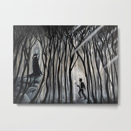 """""""The Forbidden Forest"""" (Bob Ross-style HarryPotter painting) Metal Print"""