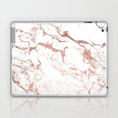 Modern chic faux rose gold white marble pattern Laptop & iPad Skin