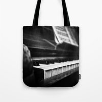 piano Tote Bags featuring Piano by Monochrome by Juste Pixx