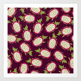 Dragon fruit on burgundy background Art Print