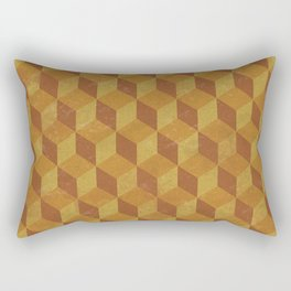 Golden Cube Rectangular Pillow