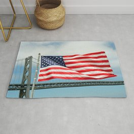 Flag at the stern of the Battleship New Jersey Rug