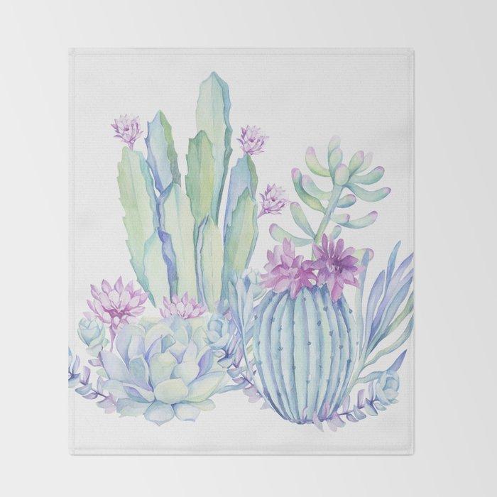 Mixed Cacti White #society6 #buyart Throw Blanket