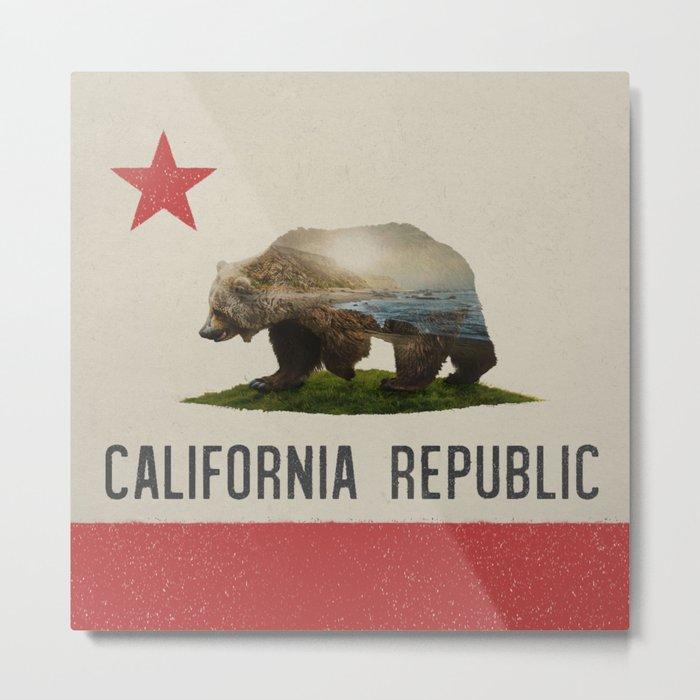 California Grizzly Bear Flag Metal Print