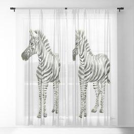 Zebra Watercolor Baby Animals Sheer Curtain
