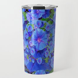 Shades of Blue Diamond Patterns Morning Glories Art Travel Mug