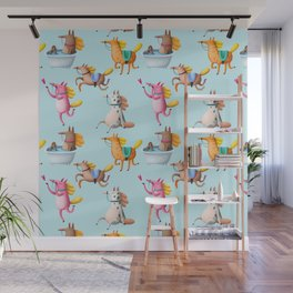 Cute and Whimsical Horse Pattern on Light Blue Wall Mural