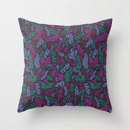 Cut Flowers Pattern Dark Gray Throw Pillow