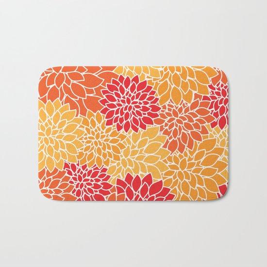 Shades of Orange Flower Pattern - Floral Art Bath Mat