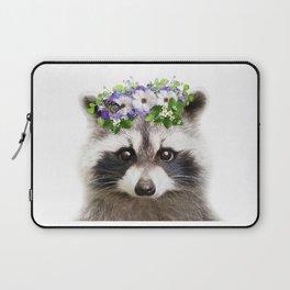Raccoon Flowers Crown Art Print by Zouzounio Art Laptop Sleeve