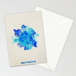 Amsterdam, The Netherlands Colorful Skyround / Skyline Watercolor Painting Stationery Cards