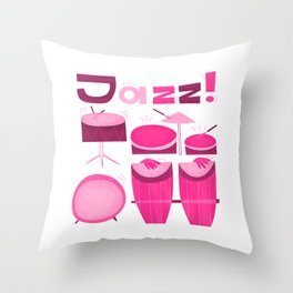 Retro Jazz Drums Percussion Throw Pillow