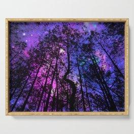 Black Trees Purple Fuchsia Blue space Serving Tray