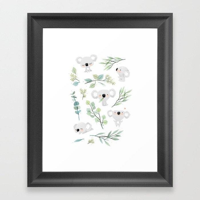 Koala and Eucalyptus Pattern Gerahmter Kunstdruck