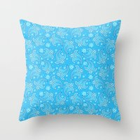 pacific rim Throw Pillows featuring Pacific Rim - Otachi Flower pattern by feriowind