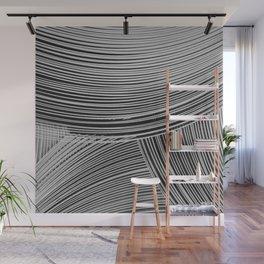 Abstract wave art - grey Wall Mural