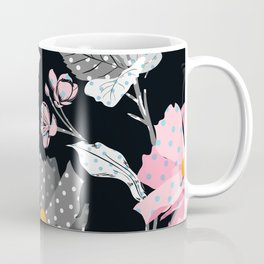 Paper Flowers in Pink Black and White Coffee Mug