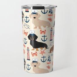 Dachshund nautical sailor dog pet portraits dog costumes dog breed pattern custom gifts Travel Mug