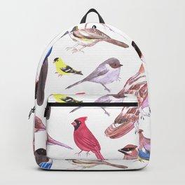 Endangered wild birds species watercolor painting- Cardinals, titmouse ,bushtit, cedar waxwing ,barn Backpack