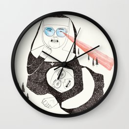 Fighting Nuns Wall Clock