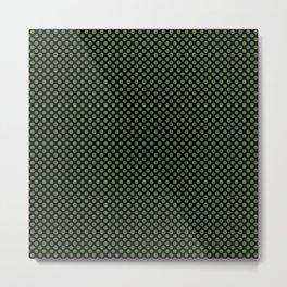 Black and Kale Polka Dots Metal Print