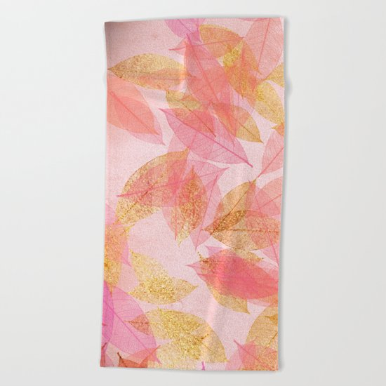 Autumn-world- gold leaves on pink Beach Towel