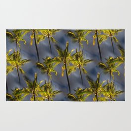 Palm Trees Tropical Night Pattern Rug