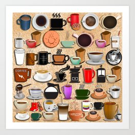 Coffee Mugs, Cups and Makers Art Print