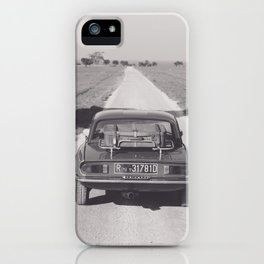 Triumph spitfire on a gravelly road in southern Italy, english sports car, fine art photography iPhone Case