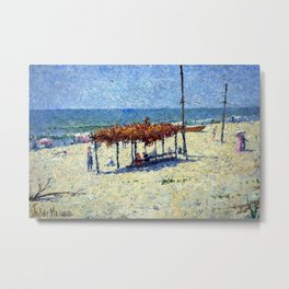 Classical Masterpiece 'Newport, RI - Beach Scene'' by Frederick Childe Hassam Metal Print