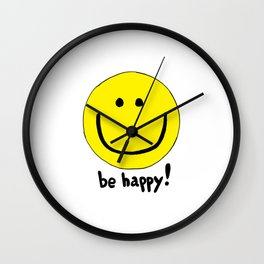 Be Happy Smiley Face Wall Clock