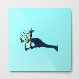 Teal Giraffe Metal Print
