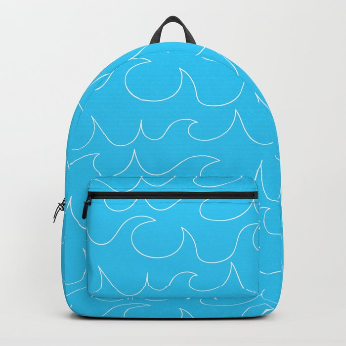 Simple white handrawn waves on aqua - for your summer on #Society6 Backpack