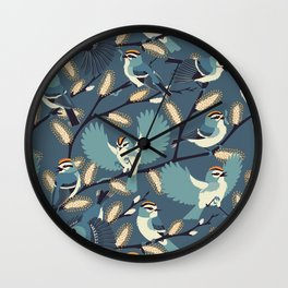 Golden-crowned Kinglets in a Pussy Willow (Dusk) Wall Clock