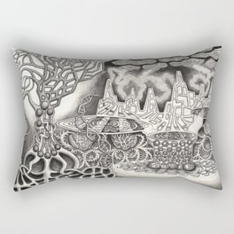 BioTechnological DNA Tree and Abstract Cityscape Rectangular Pillow