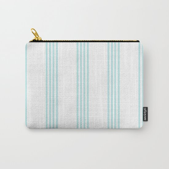 Striped I - Turquoise stripes on white- Beautiful summer pattern Carry-All Pouch