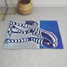 9244-KMA_5206 Sexy Blue Striped Nude Bending Down Looking Back Rug