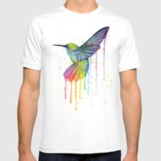 Hummingbird Rainbow Watercolor White MEDIUM Mens Fitted Tee