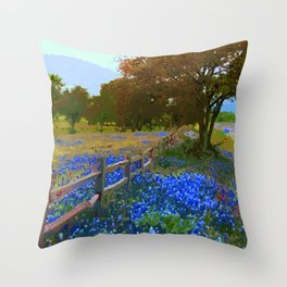 Bluebonnet season in Texas Throw Pillow