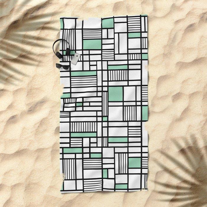 Map Lines Mint Beach Towel
