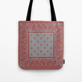 Classic Gray and Red Bandana Tote Bag