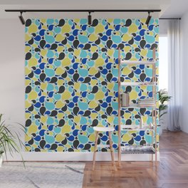 Blue and yellow paisley Wall Mural