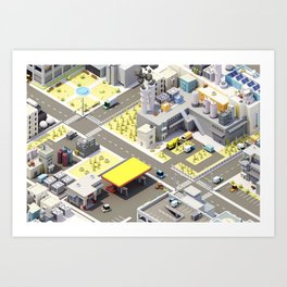 Low Poly City Art Print