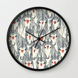 unicorn love indigo persimmon pearl Wall Clock