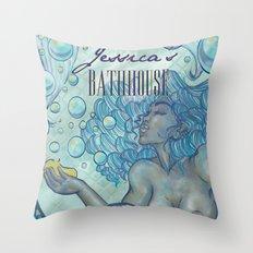 Jessica's Bathhouse Throw Pillow